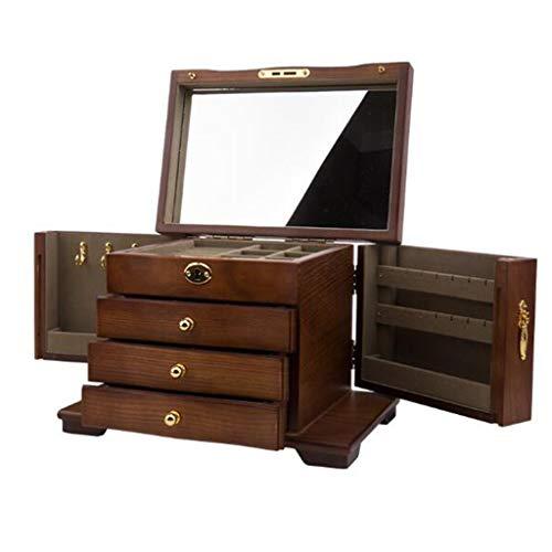 Joyero de madera de 4 capas de gran capacidad con cerradura, Caja de almacenamiento de joyería de madera maciza retro de alta gama, Con espejo de maquillaje de alta definición, Diseño de puerta doble