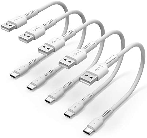 6 inch Short USB C Cord Fast Charge 5 Pack Durable USB A to USB Type C 3A Fast Charging Cable product image