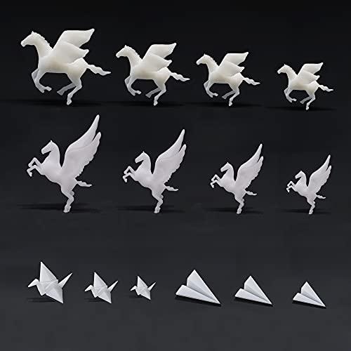 Woohome 14 Pz Molde Silicona Resina 3D Resin Filler 3D Mini De Resina De Caballo Volador, Grúa de Papel Plástico, Avión de Papel Plástico para Bricolaje Manualidades Joyería