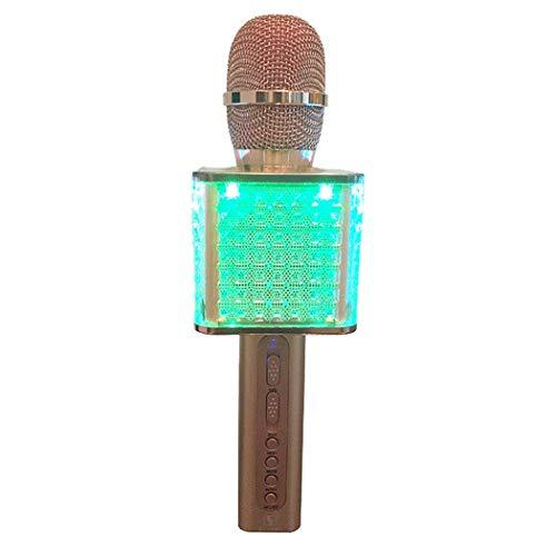 RENJUN Micrófono Inalámbrico Karaoke Micrófono Bluetooth Linterna Manija Cuadrada No es fácil de Desmontar Portátil Portátil Bluetooth Home KTV Player, Sonido para Cantar y Grabar