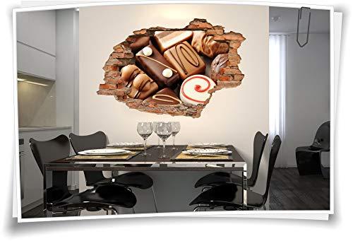Medianlux 3D muurschildering muurtattoo muursticker chocolade bonbons marsepein lief product