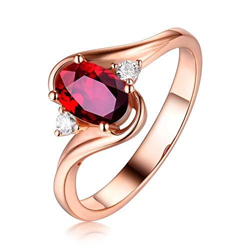 Bishilin Ringe 750 Gold für Frauen Oval Rubin 1ct Rosegold Verlobungsringe Hochzeit Ring Gr.65 (20.7)