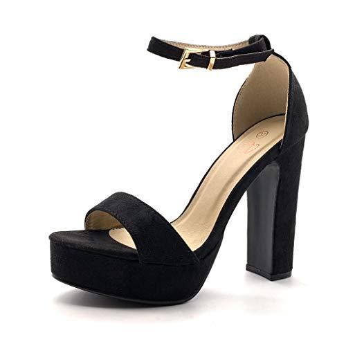 Angkorly - Chaussure Mode Escarpin Sandale Haut Talon Plateforme Ouvert Femme Simple Basique Classique lanière Talon Haut Bloc 13.5 CM - Noir 11-059 T 38