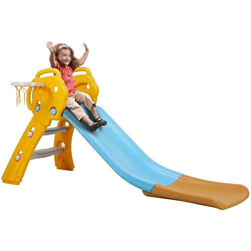 Tobogán Para Niños 3 En 1 Tobogán Plegable Con Aro De Baloncesto Parque Infantil Resistente Escalador De Tobogán Deslizante Para Interior Al Aire Libre Juego Al Aire Libre Amarillo ( Color : Yellow )