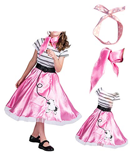 WYBAM 4-12years Old Girls 1950's Pink Poodle Dress and Scarf Costume Evening Wear for Party