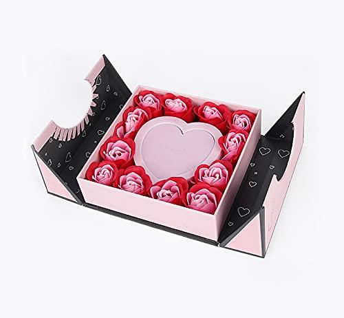 Nueva caja de regalo de flores, caja de juego de collar de pendientes de anillo, caja de regalo de flores de jabón de, caja de regalo de joyería de cumpleaños de Navidad para el día de San Valentín