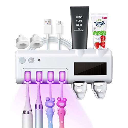 Porta spazzolino Elettrico Sterilizzatore UV supporto a parete con 4 slot e 2 distributori automatici di dentifricio, per spazzolino elettrico / normale