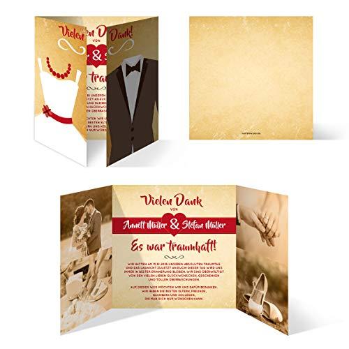 60 x Hochzeit Dankeskarten individuell Foto Text - Braut und Bräutigam Altarfalz in Vintage