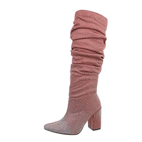 Ital-Design Damenschuhe Stiefel High Heel Stiefel Synthetik Altrosa Gr. 38
