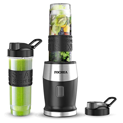 Smoothie Blender, Fochea 500W Personal Blender with BPA-Free Travel Bottles (2 * 20 oz) for Smoothies, Ice and Frozen Fruit