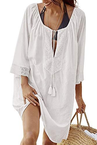 heekpek Vestido de Playa Suelto Camisola y Pareo para Cubrir Bikini Traje de Baño Mujer