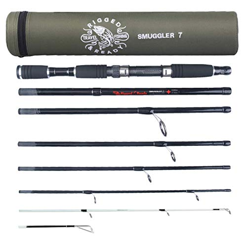 Rigged & Ready Smuggler 7, Travel Fishing Rod. Fishing kit - 7 Piece, 8ft 6in & 7ft rods, Performance, Nano Carbon Rod with 2 Unbreakable tip. Travelling Fishing Pole That fits in Your Cabin Luggage!