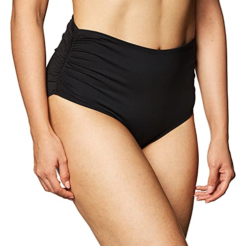 Anne Cole Women's High Waist to Fold Over Shirred Bikini Bottom Swimsuit, Live in Color Black, Large