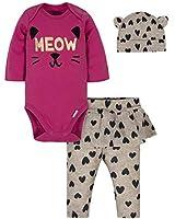GERBER Baby Girls' 3-Piece Bodysuit, Pant and Cap Set, Kitty, Newborn