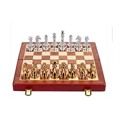 bjyx Tablero de ajedrez Plegable con Piezas de ajedrez metálico y Tablero de ajedrez de Cuero Adecuado para niños y Adultos (29.2 * 28.5cm) ( Color : A )