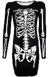 Halloween Womens Funny Costume Skeleton Long Sleeve A Line Tunic Dress White Skeleton S