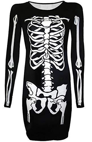 Halloween Women A Line Skeleton Long Sleeve Funny Costume Tunic Dress White Skeleton XXL