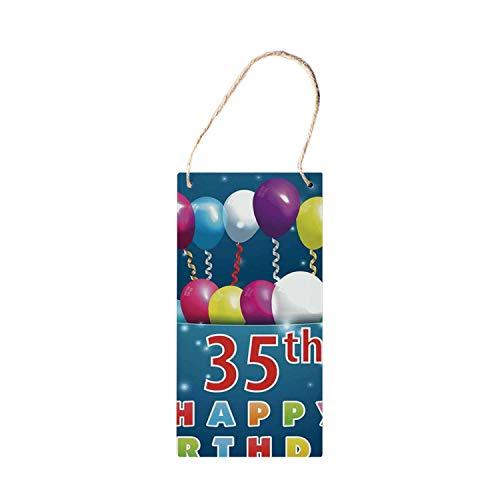 SIGNCHAT 35e Verjaardag Decoraties Opknoping Houten Borden, Verrassing Partij voor Dertig Vijf Jaar Oude Vliegende Ballonnen Linten decoraties houten bord 5x10 inch