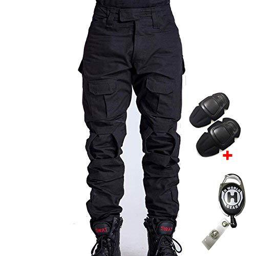 H Welt EU - Pantalones militares del ejército táctico, para airsoft o paintball, pantalones de lucha para hombre con rodilleras, color negro, tamaño large