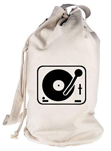 TURNTABLE/PLATTENSPIELER, DJ bedruckter Seesack Umhängetasche Schultertasche Beutel Bag, Größe: onesize,natur
