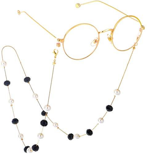 Cadena de anteojos con cuentas Moda Cristal negro Perla Cadena de gafas...