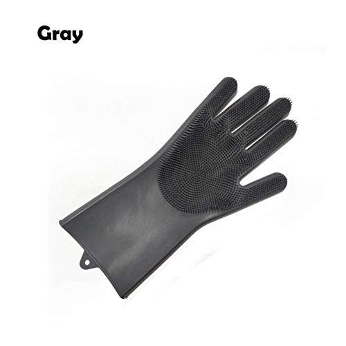 1 ST Siliconen Vaatwashandschoenen Schrobvaatwashandschoenen Reinigingshandschoenen Voor huisgerechten Keukengereedschap, diepgrijs, rechterhand
