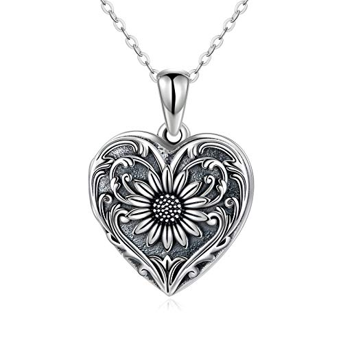 Collar con medallón en forma de corazón, fotos 925, colgante de girasol para mujeres y niñas