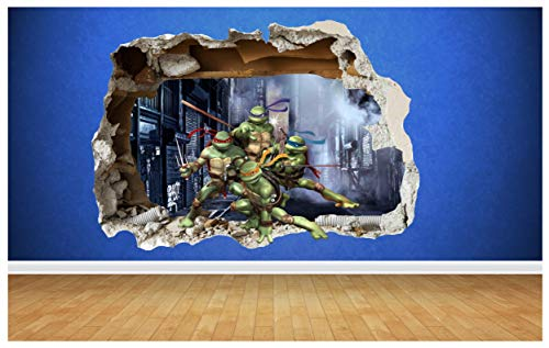Thorpe Signs - Adesivo da parete in vinile, motivo: tartarughe ninja, dimensioni: 81 x 58 cm