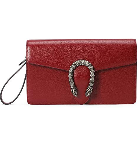 "GUCCI Dionysus Red Small handbag Leather Bag Italy NEW wristlet only 1 in stock Leather in Red Style 6891 Palladium-tone hardware Tiger head with crystals Cotton linen lining Interior open pocket Detachable wrist strap Magnetic snap closure 10.2""W x ..."