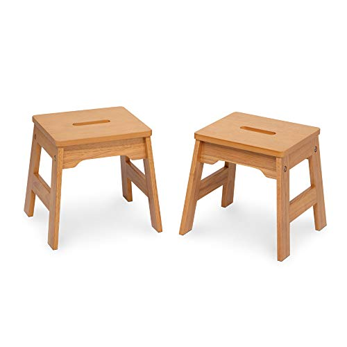 Melissa & Doug Wooden Stools - Set of 2 Stackable, 11-Inch-Tall - Natural