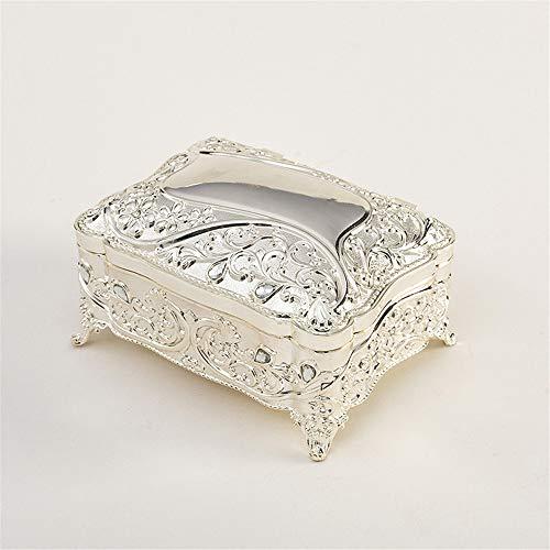 Joyero de estilo europeo, caja de joyería vintage, metal con piedras preciosas, princesa, caja de regalo de cumpleaños, color plateado