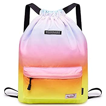 Drawstring Backpack String Bag Sackpack Cinch Water Resistant Nylon for Gym Shopping Sport Yoga by WANDF  D-Rainbow