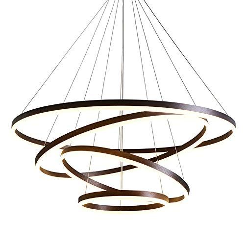 127W LED Pendelleuchten Dimmbar Fernbedienung Brown Aluminium Rund 4-Ring Hängeleuchte Esstischlampe Galerie Wendel-Treppe Deckenleuchtem Büro Esszimmer Kronleuchter,20+40+60+80CM