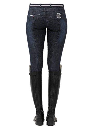 SPOOKS Reithose für Damen Mädchen Kinder, Jeansreithose Reithosen Leggings Turnierreithose - Lucy Full Grip Jeans - Denim L