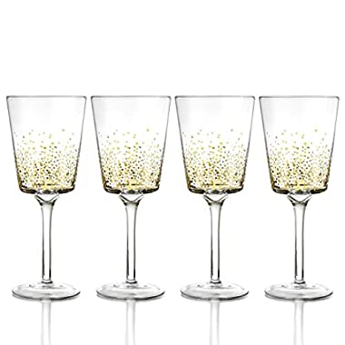 Fitz and Floyd Luster Red Wine Goblets (Set of 4), Gold