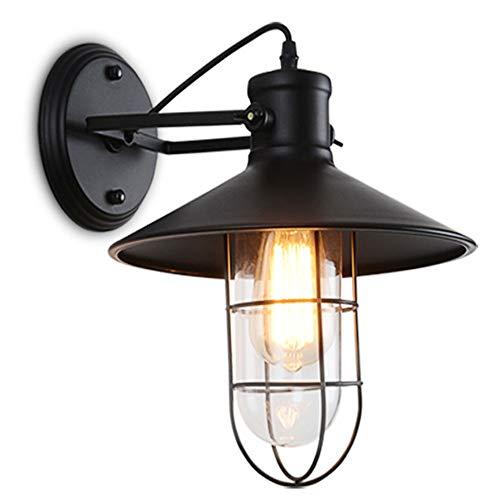 Lampada da parete Lampada da parete industriale vintage da tavolo da pranzo lampada da parete nera retrò in ferro paralume in vetro sala da pranzo soggiorno zona pranzo lampada da parete E27