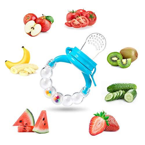 Fruchtsauger Baby Obst Fütterung Babynahrung Rassel Schnuller Spielzeug für Kleinkinder (Junge, 8 stück) - 4