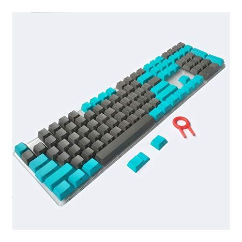 YEZIO Keycaps für Keyboards PBT Tastenkappen Side/Front ANSI MX Key Caps Blau, Grau, 87/104/108 / MX-Schalter mechanische Tastatur Universal