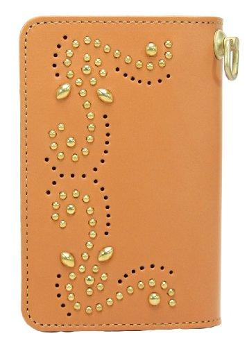 KC, s Leather Craft–Latón BillFold largo brogueing Tachuelas de color marrón hecho en Japón