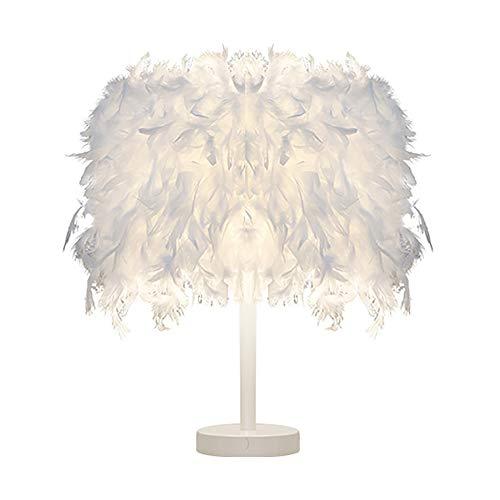 cheap4uk 1 Pieza Lámpara de mesilla de Noche con Pantalla en Forma de Pluma Portátil Mesa de luz para mesita de Noche Luz de Noche Dormitorio, Sala de Estar, decoración de la Sala de Estudio