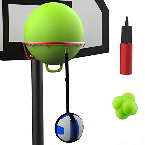 Volleyball Spike Trainer Basketball Hoop - Great Home Training Equipment for Improving Spiking, Jumping and Arm Swing Mechanics - Adjustable Length Ball Holder, Ball Rim Cover, Air Pump, Reaction Ball