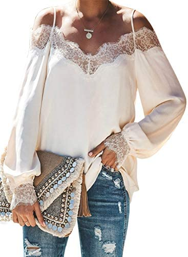 Acelitt Women s Off Shoulder Spaghetti Strap Long Sleeve Lace Blouse Tunic Shirt Top Spring product image