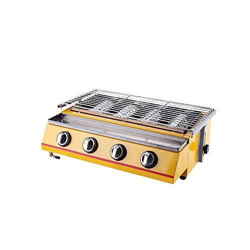 WYZXR Yellow Gas BBQ Grill 4 Brenner Tragbares Umwelt-Picknick im Freien Verstellbarer Grillrost aus Edelstahl, Tischmaschine, Zubehör