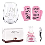 Wine Glass 49 Plus One Middle Finger + Cupcake Wine Socks Gift Set Funny Stemless Wine Glass for Women Girls Unique 50th Birthday Gifts for Friend Wine Lover Turning 50 Perfect Party Decoration 15Oz