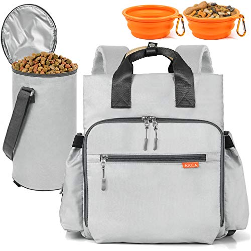 ARCA PET Travel Bag for Cat & Dog Backpack - Store All Dog Stuff & Puppy Supplies - Includes 1 Dog Travel Bag, 1 Large Dog Food Travel Container, 2 Collapsible Travel Dog Bowls (Grey)