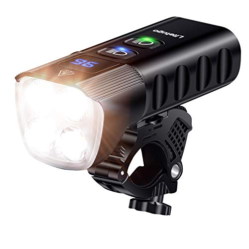 MOMIMO Bike Headlight, Super Bright 2000 Lumens USB Rechargeable Bicycle Front Light with IP65 Waterproof and 13 Lighting Modes Fits All Road Bicycle Mountain Bike