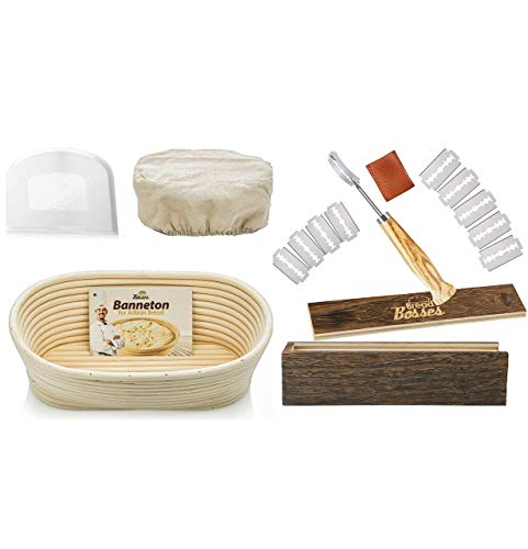 Bread Bosses Oval Bread Banneton Proofing Basket - 10 Inch Baskets and Bread Bakers Lame Slashing Tool - Great as a Gift