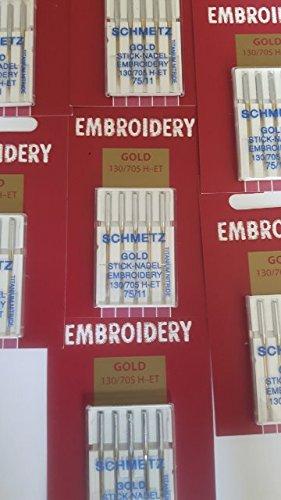 SCHMETZ: 25 Nähmaschinen Nadeln - Gold Titanium Embroidery - Stick Nadel Stärke 75/11