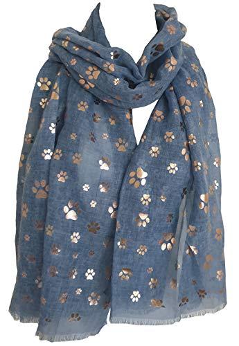 GlamLondon - Sciarpa da donna con stampa di zampe, in lamina metallica, con animali, gatti, cani, zampe, glitter, scialle blu navy 90