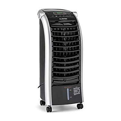 Klarstein Maxfresh Cool Edition - Air Cooler, Fan, Humidifier, Cooler, 3 in 1, Portable, 3 Modes, LED Panel, 56 W, 6L Tank, Wheels, Ice Bag, Remote Control, Black